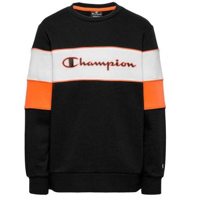 CHAMPION SUDADERA BLOCKING NEGRO NARANJA JUNIOR